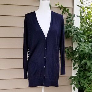 J Crew Long Cardigan With Striped Back Size S